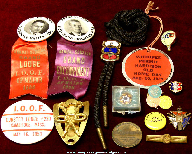 (14) Different Old Independent Order Of Odd Fellows I.O.O.F. Fraternal Items