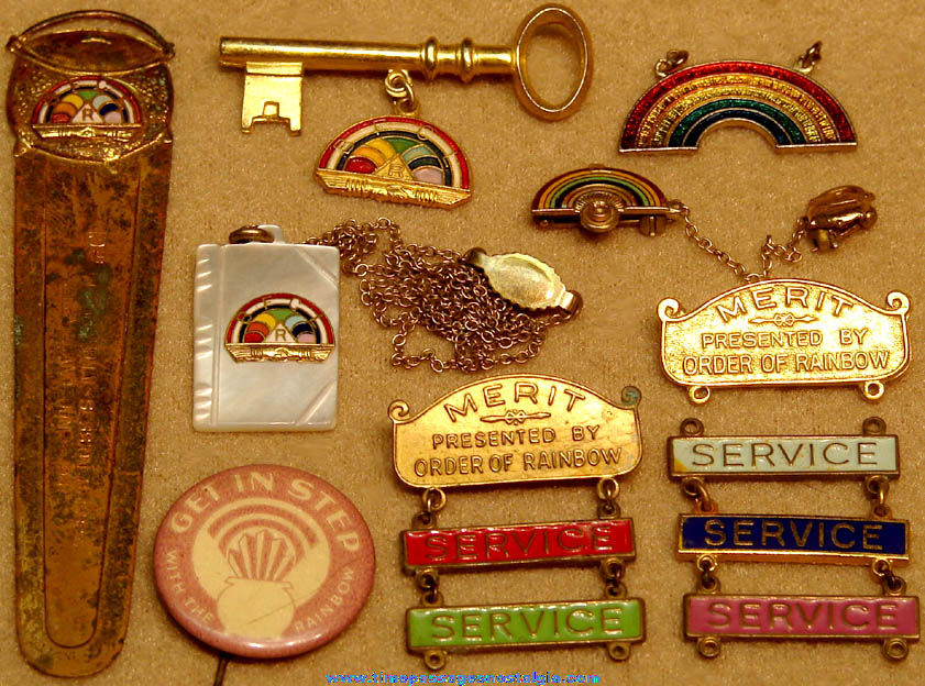 (13) Small Colorful Order of The Rainbow For Girls Masonic Fraternal Jewelry Items