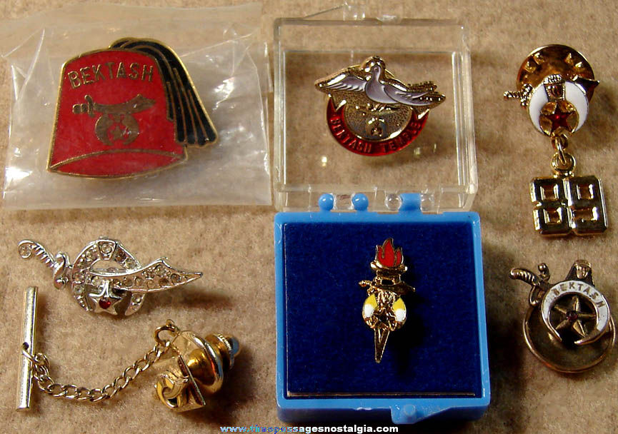 (7) Different Small Shriners International Masonic Fraternal Jewelry Items
