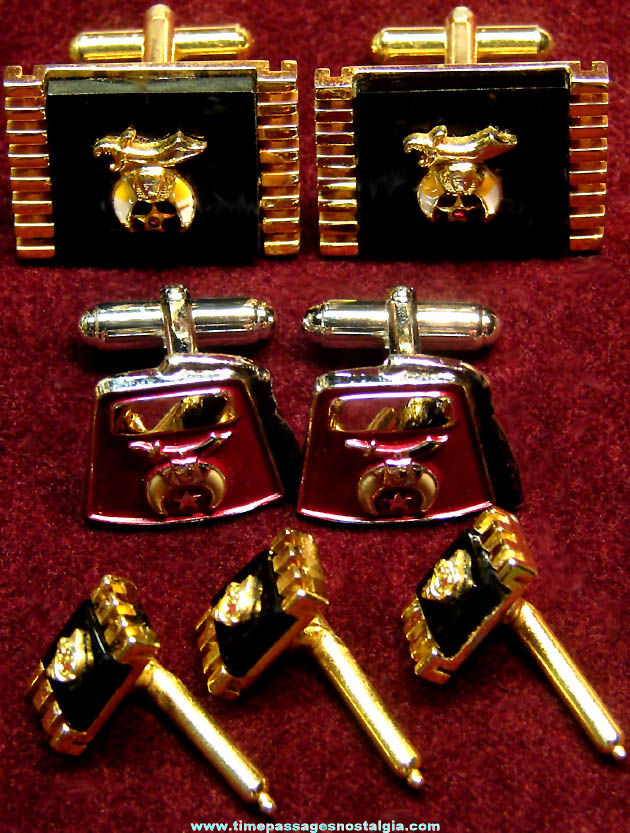 (7) Shriners International Masonic Fraternal Jewelry Cuff Links