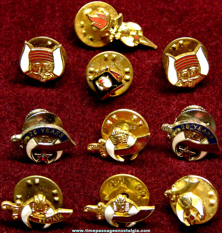 (10) Small Enameled Shriners International Masonic Fraternal Jewelry Pins