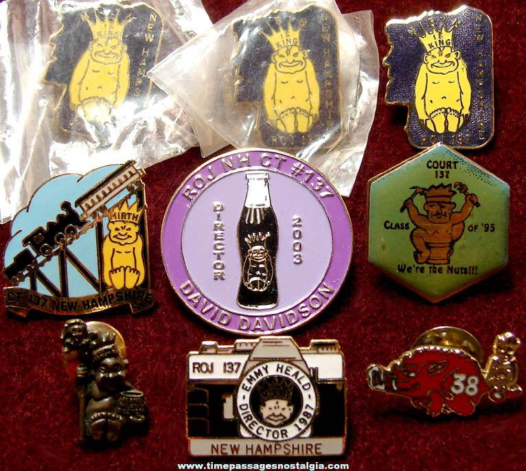 (9) Royal Order of Jesters Billiken Character Fraternal Organization Advertising Pins