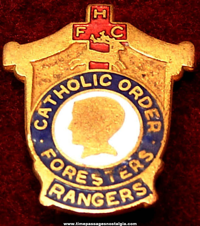 Old Enameled Catholic Order of Foresters Rangers Religious Membership Jewelry Pin