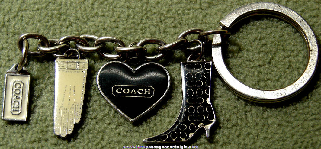 Coach Purse or Handbag Advertising Key Chain with (4) Painted Metal Charms