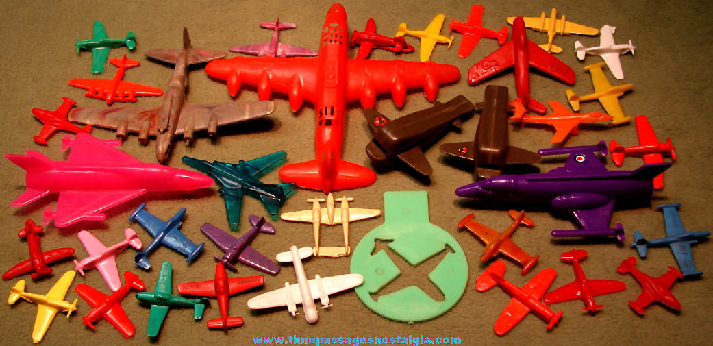 (36) Small Old Plastic Toy Military Airplanes