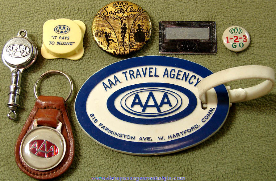 (7) Different Small Old American Automobile Association AAA Advertising Premium Items