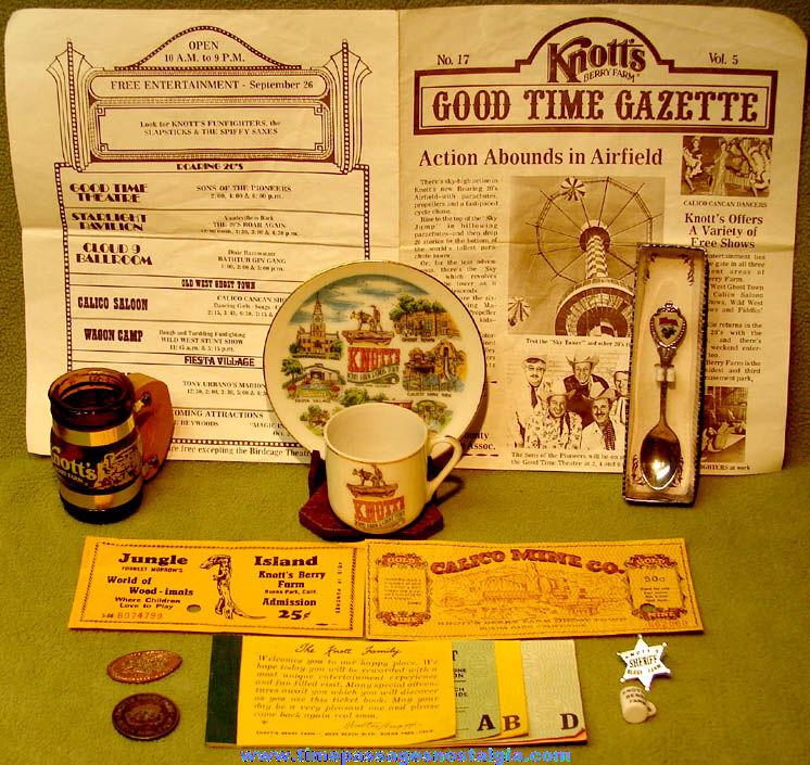 (12) Old Knott's Berry Farm Amusement Theme Park Advertising and Souvenir Items