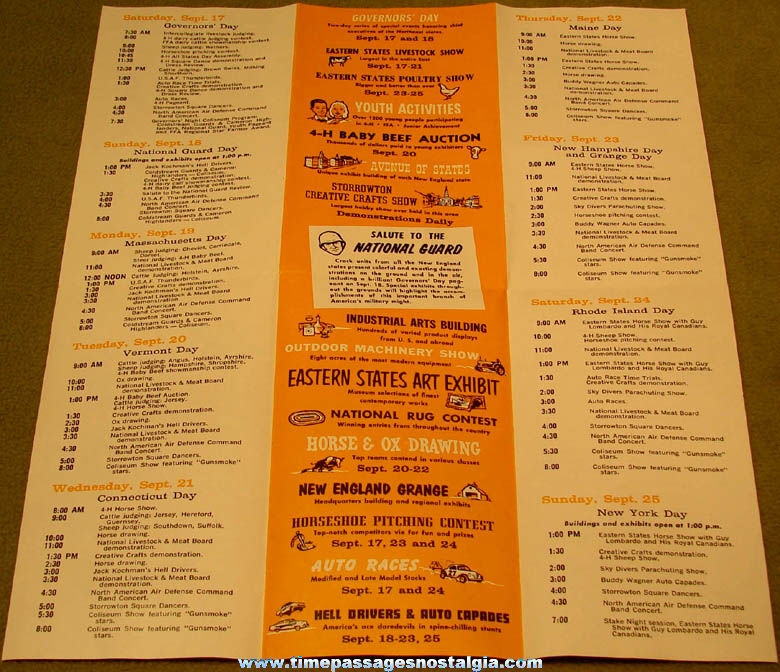 1960 Eastern States Exposition Advertising Souvenir Brochure Schedule