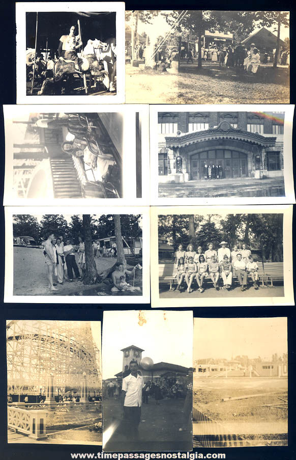 (11) Different Old Unidentified Carnival Fair Arcade and Amusement Park Photographs