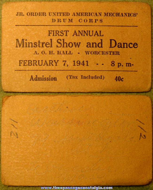1941 First Annual Minstrel Show and Dance Advertising Ticket
