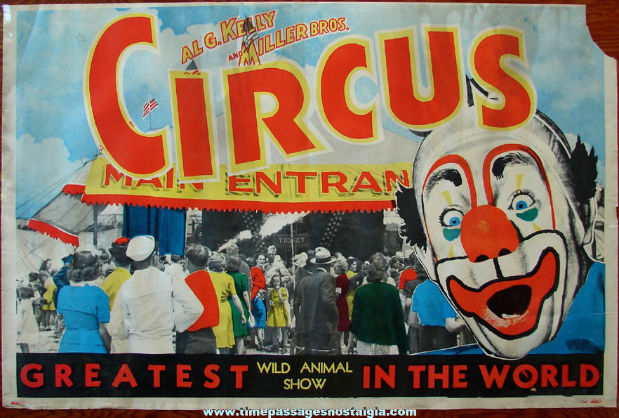 Colorful Old Al G. Kelly and Miller Brothers Circus & Wild Animal Show Advertising Poster