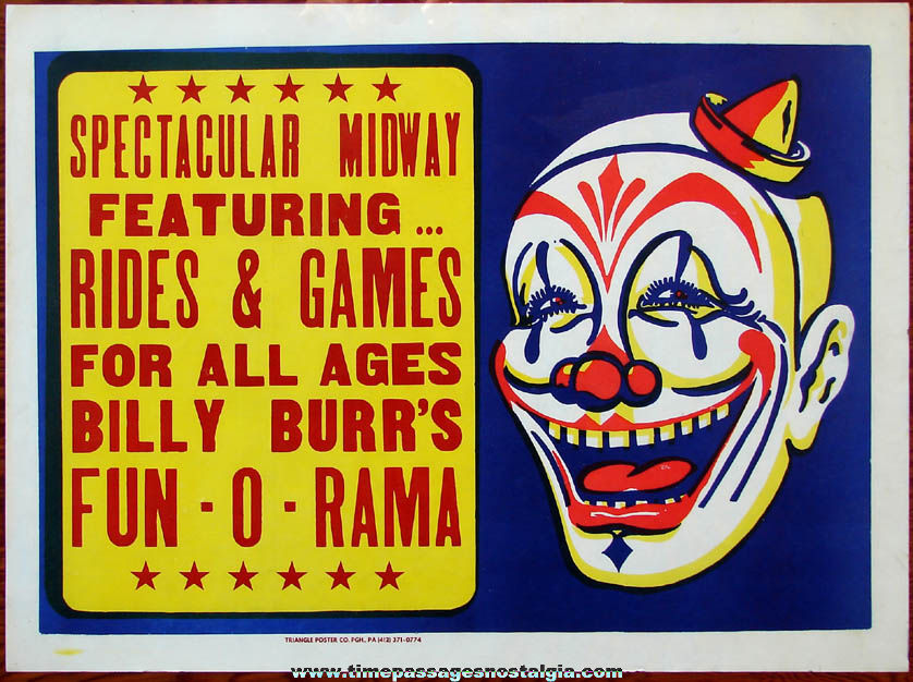 Colorful Old Unused Billy Burr's Fun - O - Rama Rides & Midway Rochester New Hampshire Fair Advertising Poster