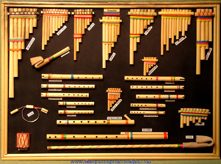 Wooden Display of (26) Miniature Ecuador or South American Flutes or Pan Pipes