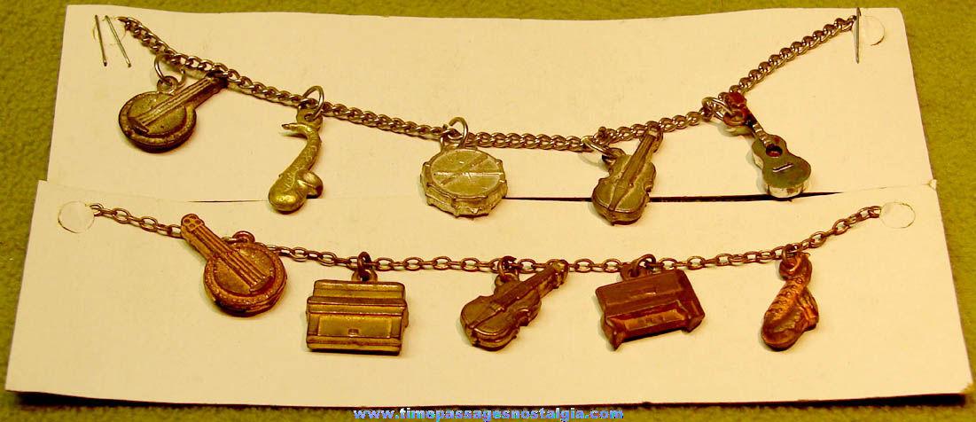 (2) Similar Old Musical Instrument Gum Ball Machine Toy Prize Charm Bracelets