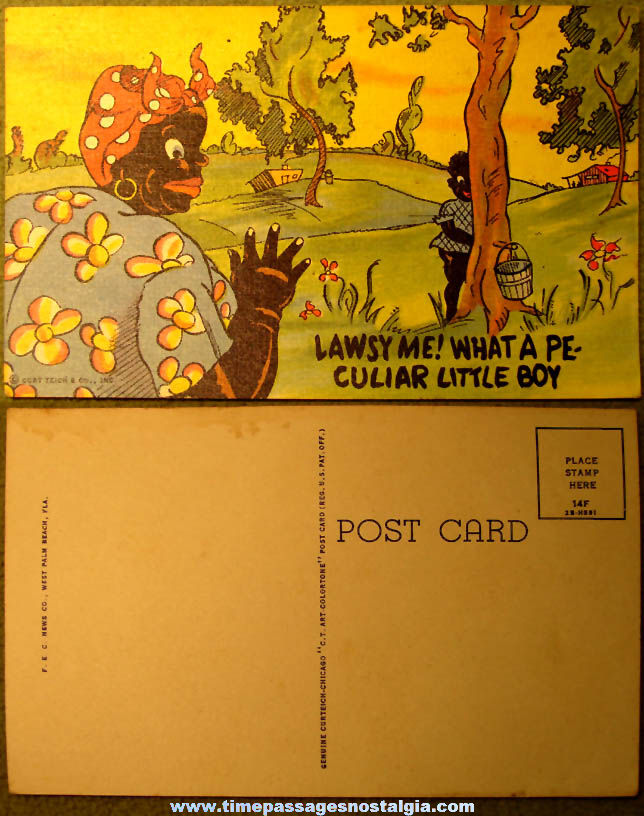 Colorful Old Unused Black Mammy Cartoon or Comic Character Post Card