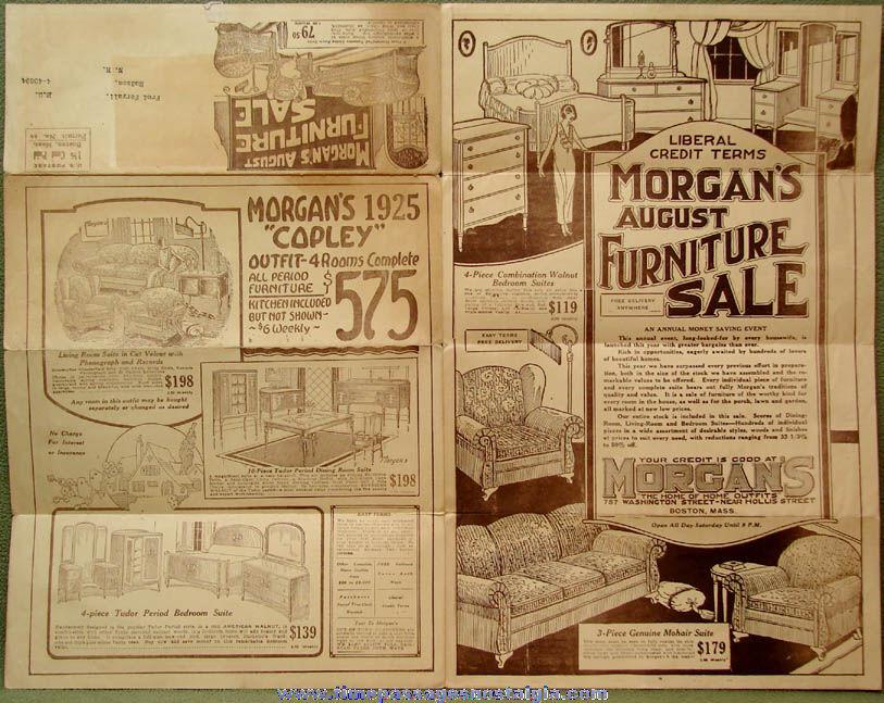 1925 Morgan's Boston Massachusetts Furniture Store Advertising Mailer Flyer