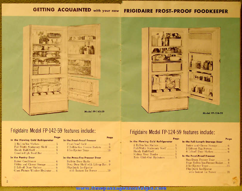 ©1958 Frigidaire Frost Proof Refrigerator Freezer Owners Manual Booklet
