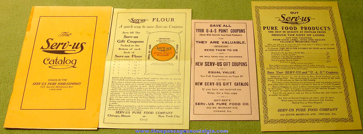 (4) Different Old Serv-Us Pure Food Company Advertising Premium Paper Items