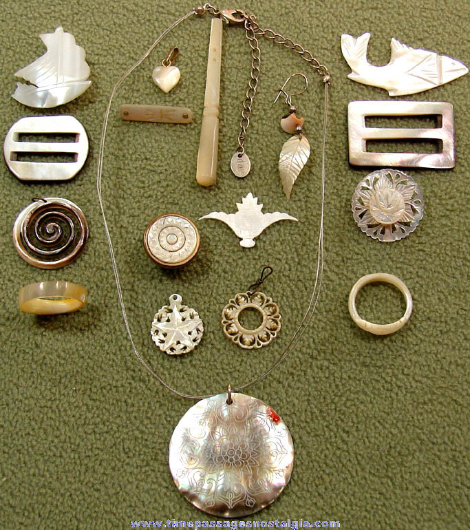 (17) Different Small Carved Shell Jewelry Items