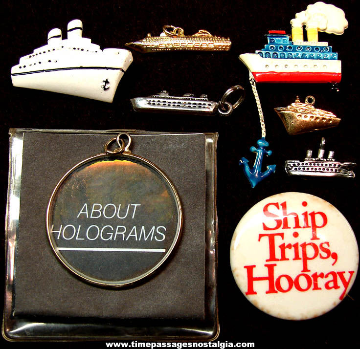 (8) Different Small Old Cruise Ship or Ocean Liner Related Jewelry Items