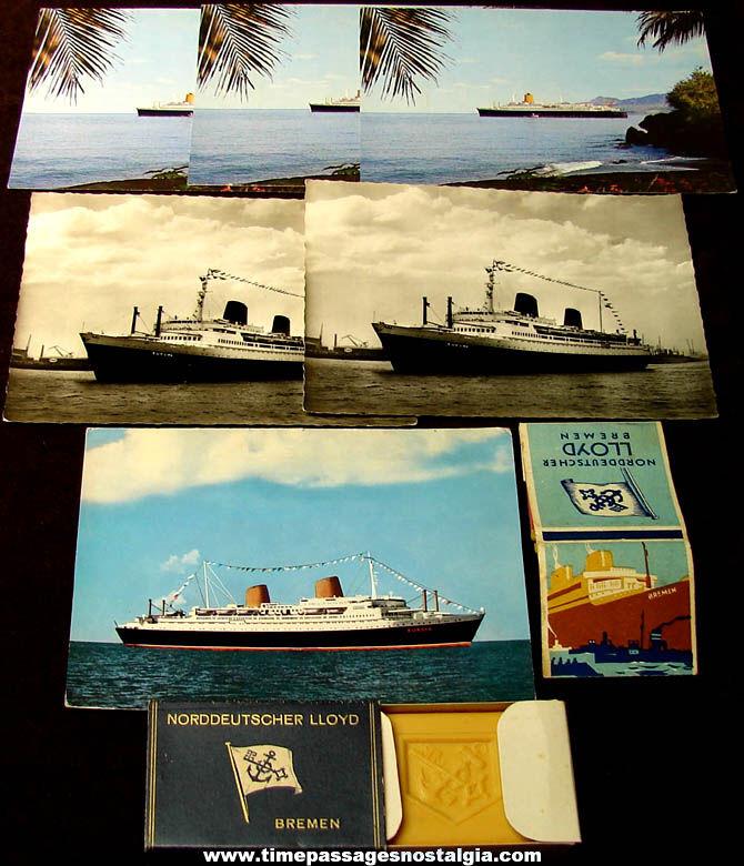 (8) Old Norddeutscher Lloyd Lines S.S. Bremen & S.S. Europa Ship Items