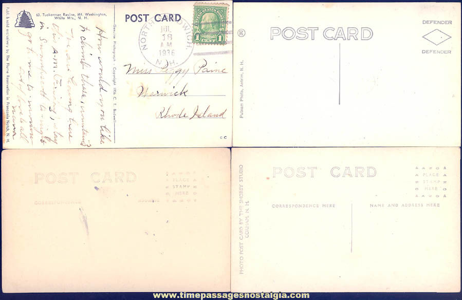 (8) Old New Hampshire White Mountains Real Photo Post Cards