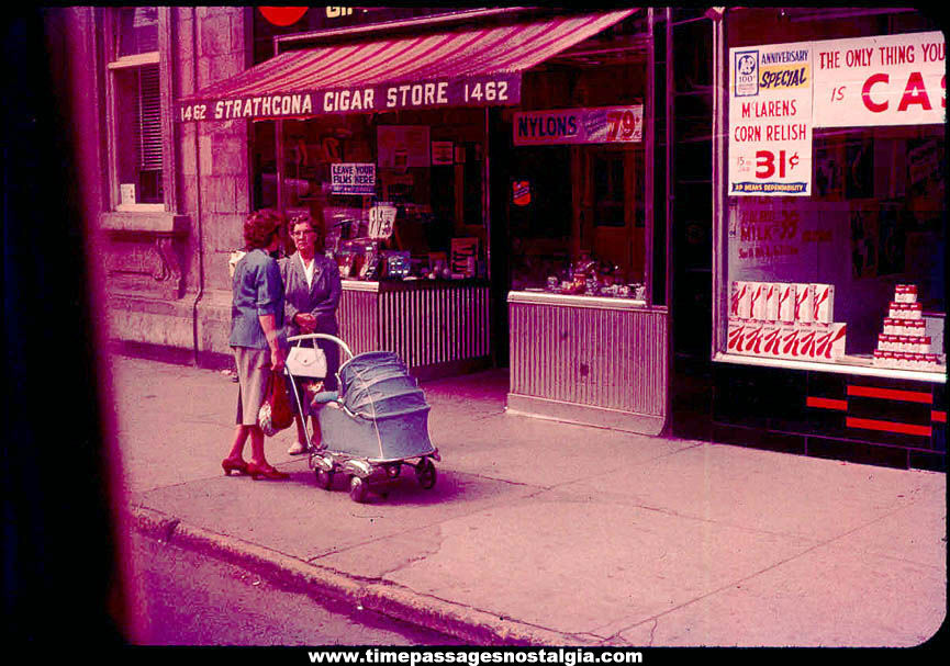 Old Cigar Store and A&P Grocery Store Sidewalk Scene Color Photograph Slide