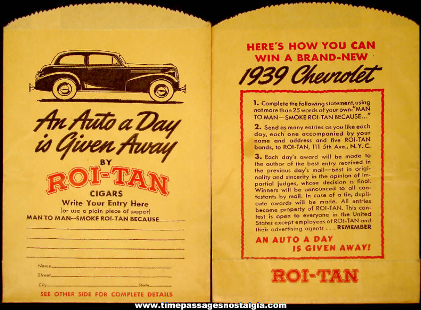 (6) Unused 1939 Roi-Tan Cigar & Chevrolet Automobile Contest Advertising Paper Bags