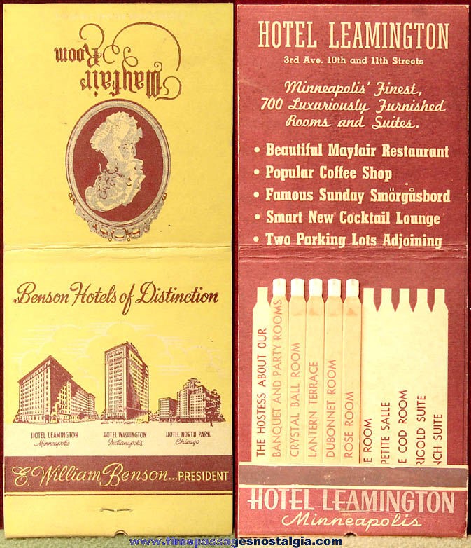 Old Oversized Hotel Leamington Minneapolis Minnesota Advertising Match Book Cover