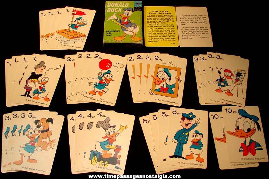 Colorful Old Boxed Walt Disney Donald Duck Cartoon Character Ed-U-Cards Card Game