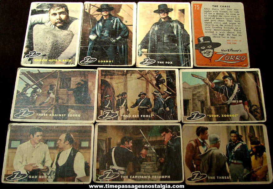 (10) 1958 Walt Disney Zorro Movie Character Topps Non Sports Trading Cards