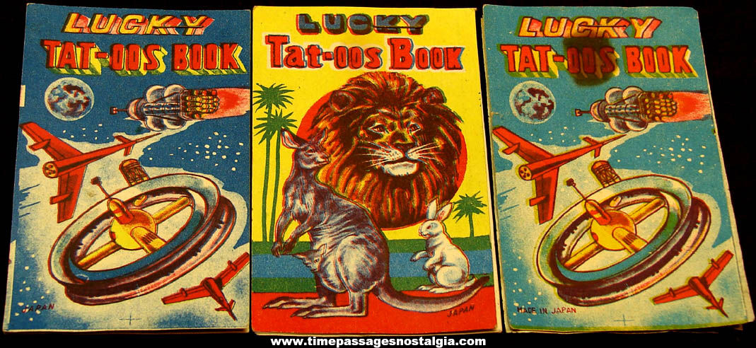 (3) Old Unused Lucky Tattoo Paper Toy Booklets
