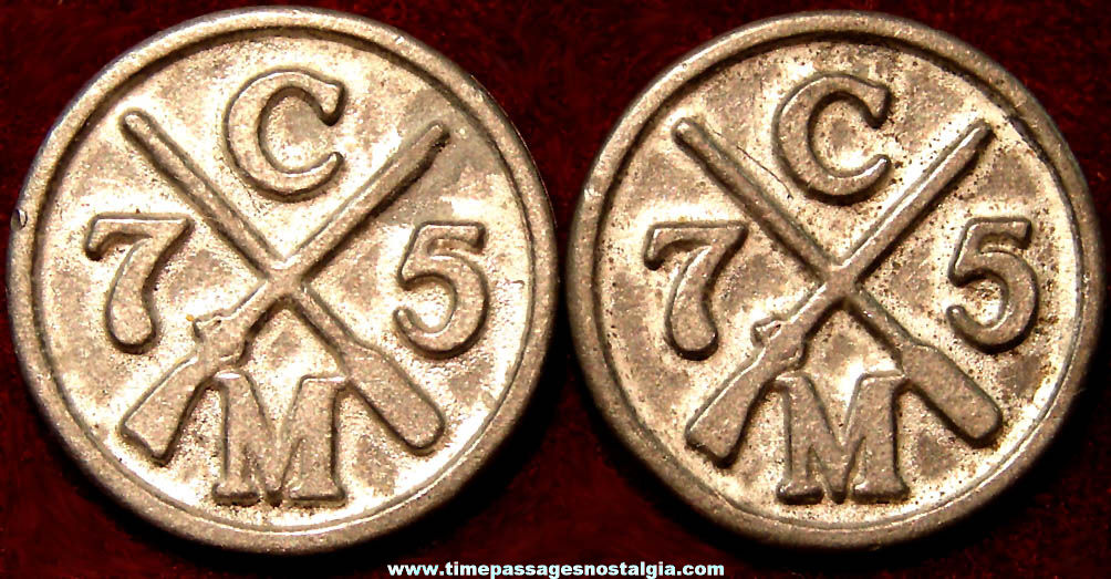 (2) Unidentified Crossed Rifle & Oar Military or Sportsman Metal Clothing Buttons