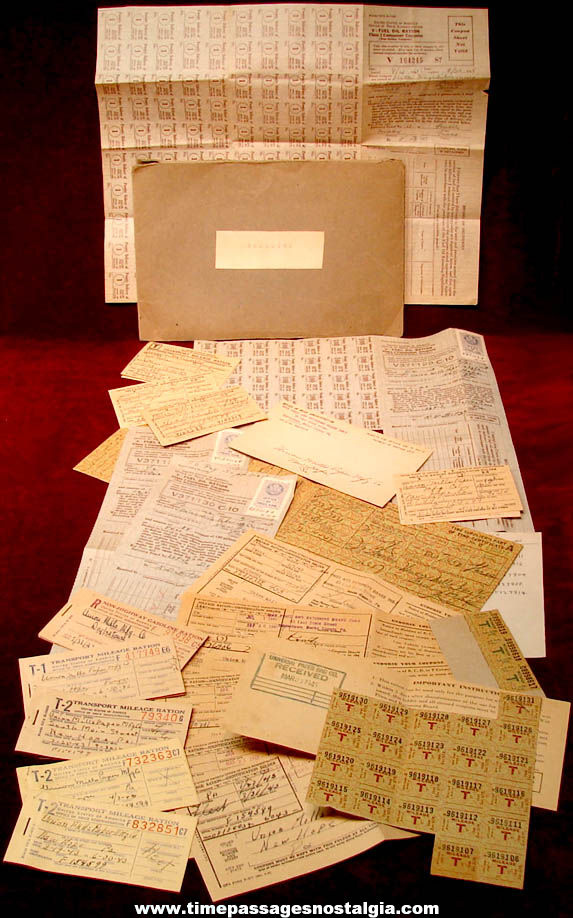 Many Pennsylvania & Massachusetts World War II Gasoline Ration Cards and Stamps