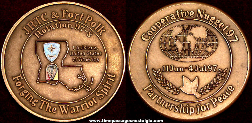 1997 - 1998 Joint Readiness Training Center Fort Polk Advertising Souvenir Medal Coin