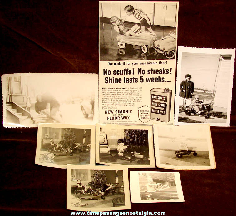 (7) Old Photographs & An Old Advertisement With Toy Pedal Cars