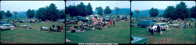 (3) Old Outdoor Flea Market Color Photograph Slides