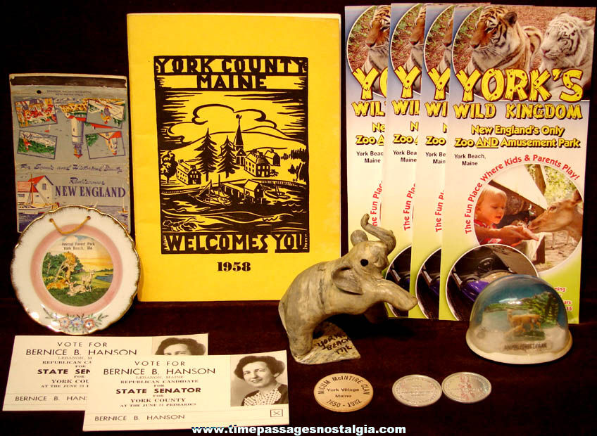 (14) Small York and York Beach Maine Advertising and Souvenir Items