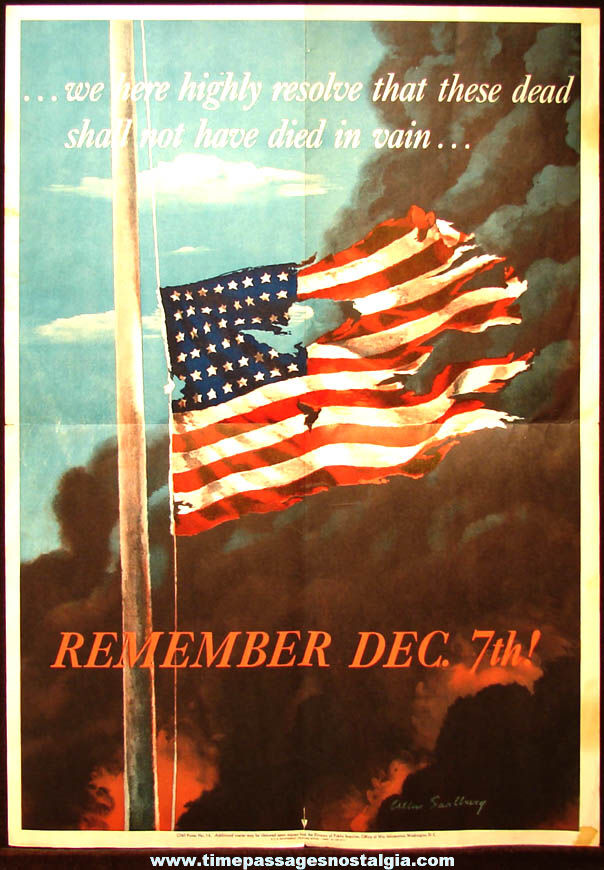 Colorful ©1942 World War II Remember Dec 7th Pearl Harbor Attack American Flag Poster