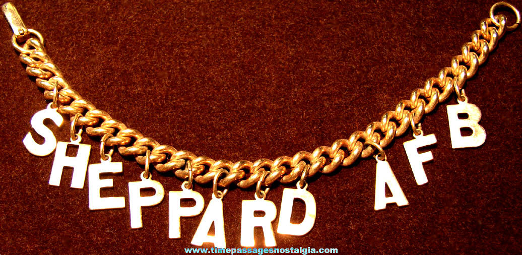 Old Sheppard United States Air Force Base Advertising Souvenir Metal Jewelry Charm Bracelet