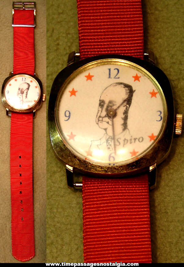 Old United States Vice President Spiro Agnew Political Novelty Wrist Watch