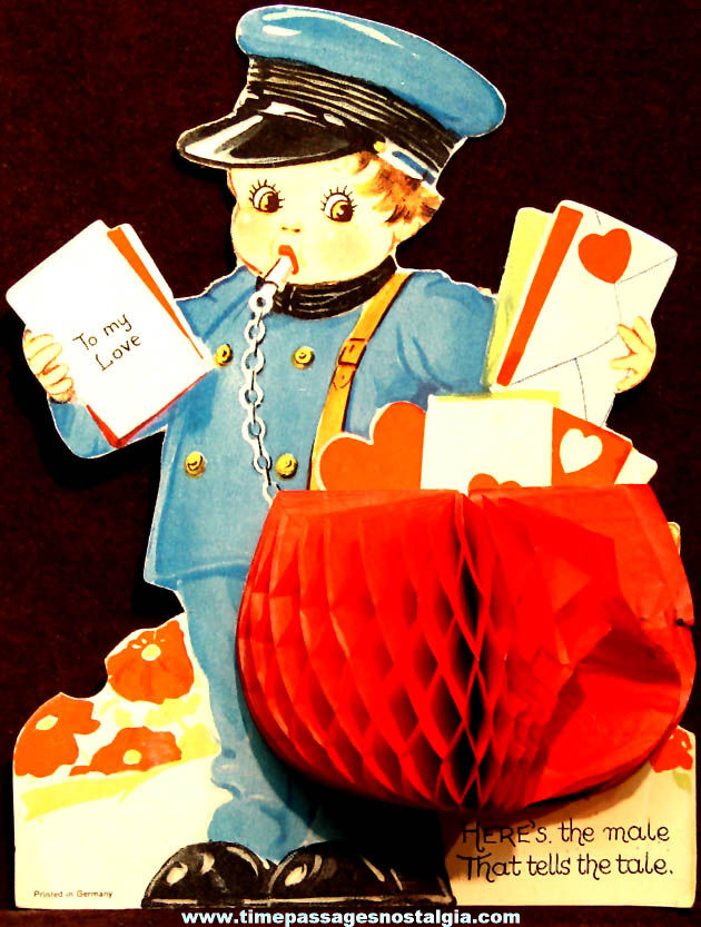 Colorful Old United States Mailman or Letter Carrier Pop Up Valentine Greeting Card