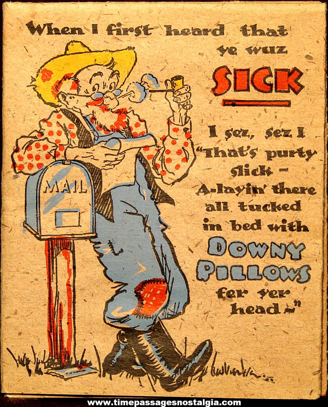 Unusual & Colorful ©1940 Hall Brothers Hillbilly Get Well Greeting Card