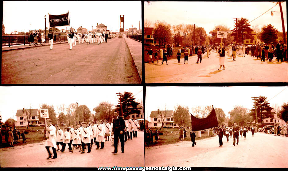 (8) Large Old Maine School Parade Photograph Negatives