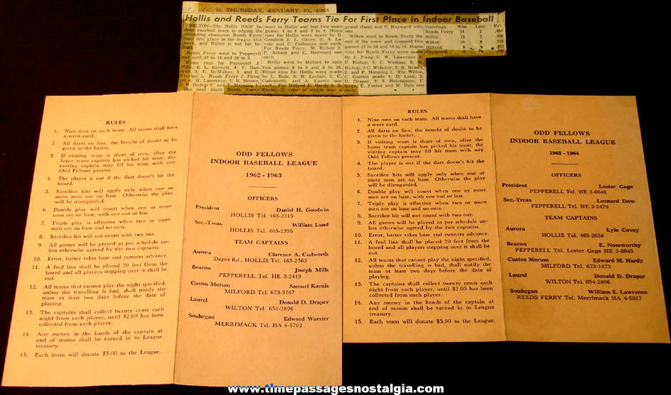 (3) Different 1962 – 1964 Odd Fellows Indoor Baseball League Paper Items