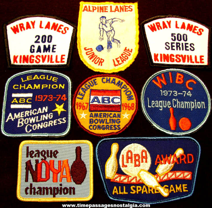 (8) Different Old Ten Pin Bowling Award Embroidered Cloth Patches