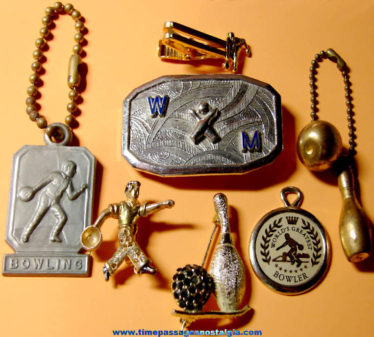 (7) Different Small Old Ten Pin Bowling Related Jewelry Items