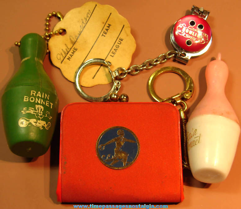 (4) Different Old Unusual Women's Ten Pin Bowling Related Key Chains