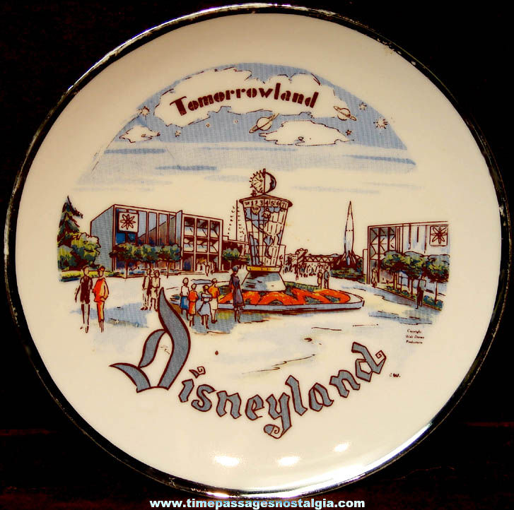 Old Walt Disney Productions Disneyland Tomorrowland Advertising Souvenir Plate