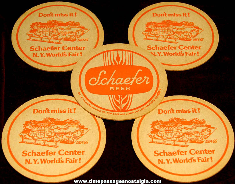 (5) Unused 1964 - 1965 New York World's Fair Schaefer Beer Exhibit Advertising Coasters